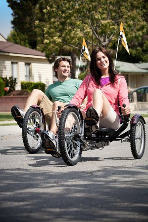 A Couple Enjoying Their Mobo Shift 3-wheeled Adult Cruisers