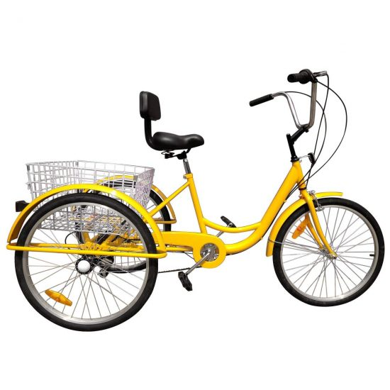 Iglobalbuy Yellow 24 6-Speed 3 Wheel Cheap Adult Bicycle Tricycle Trike