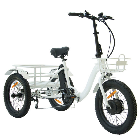Folding Electric Tricycle with Front and Rear Baskets